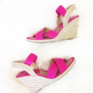 Fuchsia Pink Strappy Open Toe Wedges